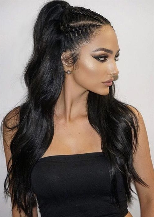 51 Pretty Holiday Hairstyles For Every Christmas Outfit | Hair Throughout Newest Half Up Half Down Cornrows Hairstyles (View 2 of 15)