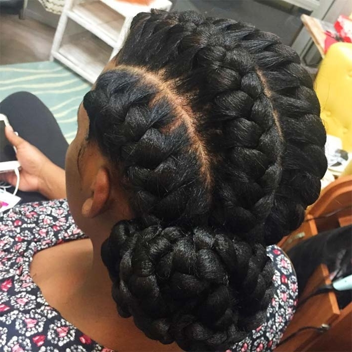53 Goddess Braids Hairstyles – Tips On Getting Goddess Braids Within Recent Thin Double Braids With Bold Bow (View 14 of 15)
