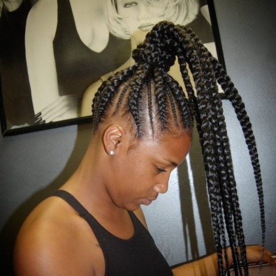 55 Gorgeous Hairstyles For Ghana Braids — Look Beautiful And Live Regarding Current Cornrows Ponytail Hairstyles (View 12 of 15)