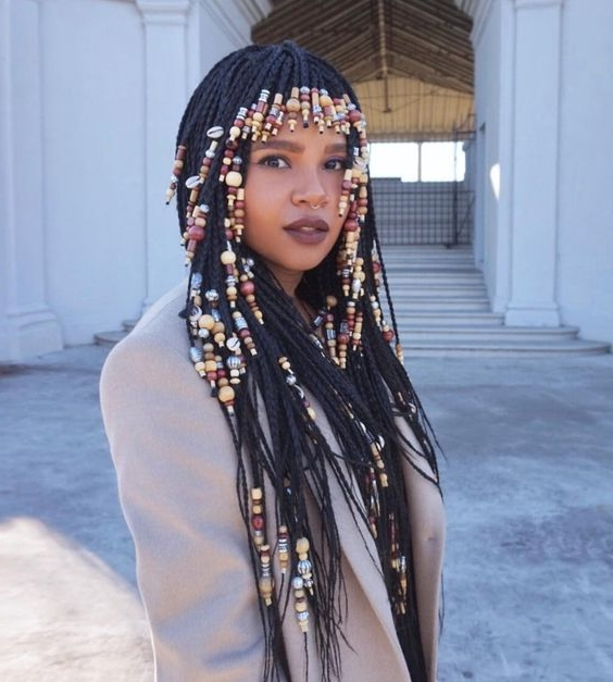 60 Totally Chic And Colorful Box Braids Hairstyles To Wear Simple Of Pertaining To Most Current Cornrows Hairstyles With Bangs (View 11 of 15)