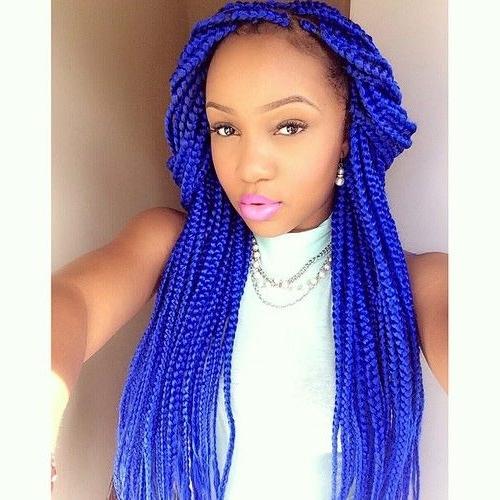 65 Box Braids Hairstyles For Black Women | Hair Story | Pinterest Regarding Most Recent Purple Highlights In Black Braids (View 8 of 15)