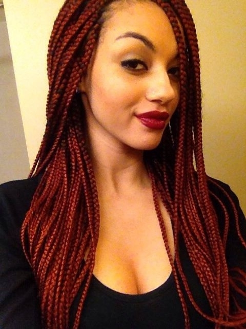 65 Box Braids Hairstyles For Black Women Inside Best And Newest Red Braided Hairstyles (View 10 of 15)