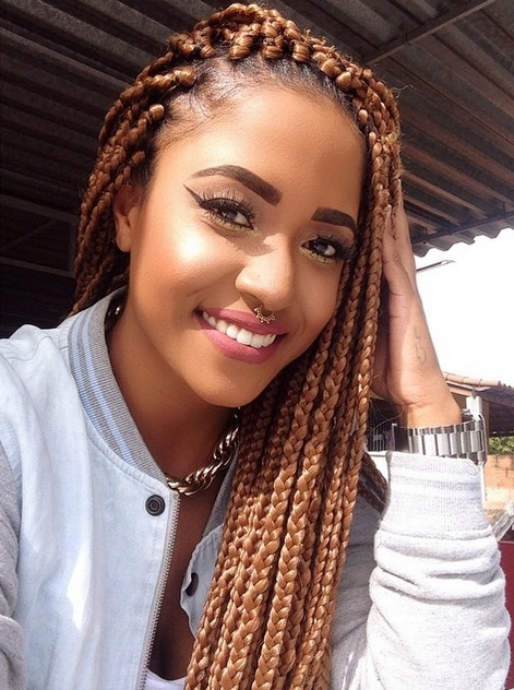 65 Box Braids Hairstyles For Black Women Inside Latest Blonde Braided Hairstyles (View 6 of 15)