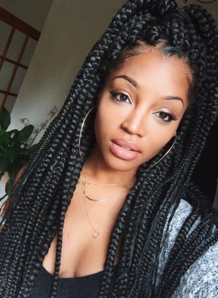 65 Box Braids Hairstyles For Black Women | Vive Tu Vida | Pinterest Pertaining To Most Recent Long Chunky Black Braids Hairstyles (View 6 of 15)