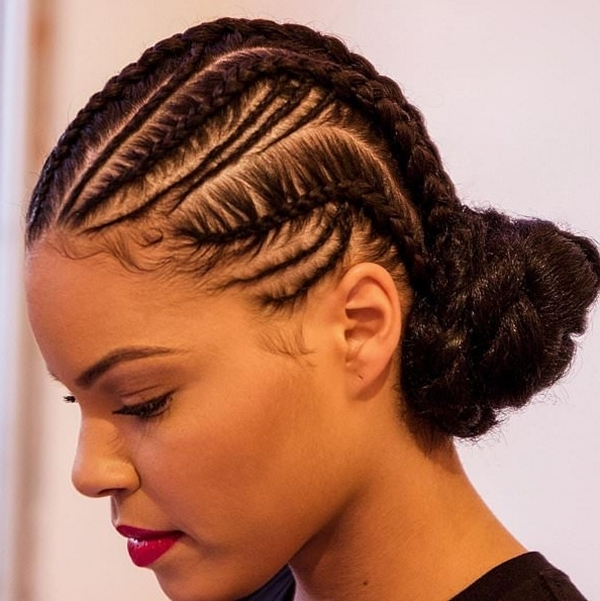 66 Of The Best Looking Black Braided Hairstyles For 2018 Intended For Most Current Top Knot Bun With Cascade Of Thin Braids (View 13 of 15)