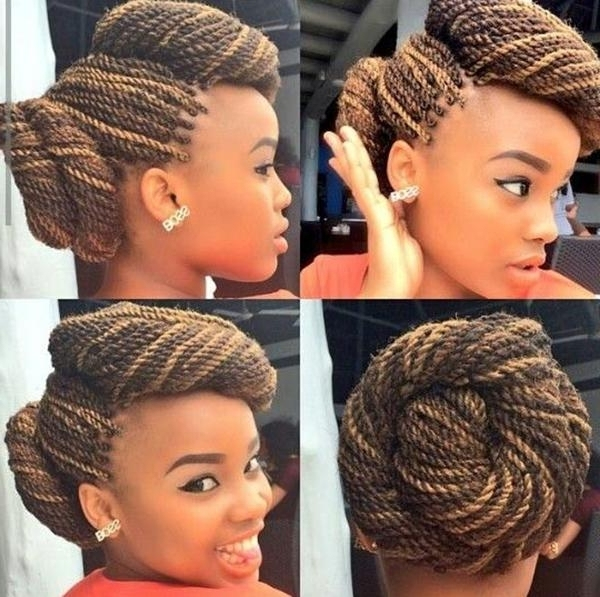 68 Senegalese Twists You Should Try – Style Easily With 2018 Twisted Updo With Blonde Highlights (View 7 of 15)