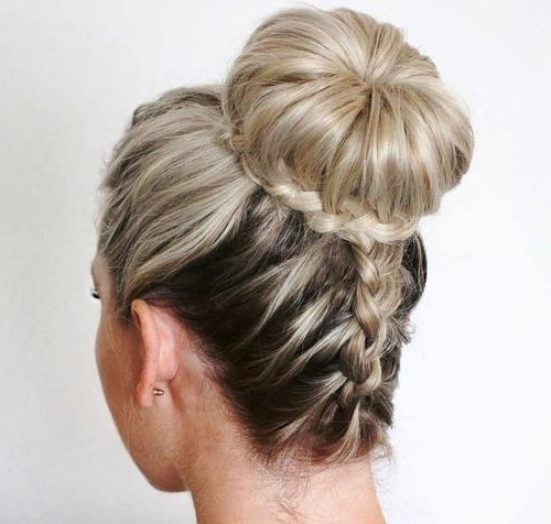 7 Stunning French Braided Buns For Women – Hairstylecamp Intended For Most Popular Donut Bun Hairstyles With Braid Around (View 13 of 15)