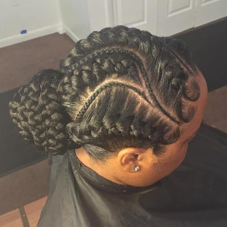 70 Best Black Braided Hairstyles That Turn Heads   Hobbies In Most Up To Date Updo With Thin Wavy Feed Ins (View 8 of 15)