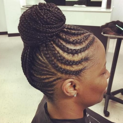 70 Best Black Braided Hairstyles That Turn Heads Most Delightful Of Intended For Recent Cornrows Hairstyles In A Bun (View 9 of 15)