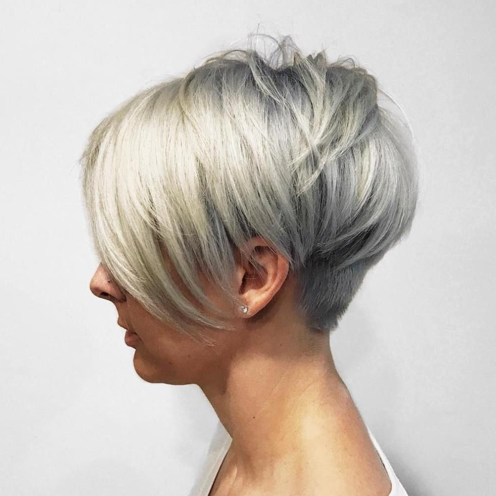 70 Cute And Easy To Style Short Layered Hairstyles | Undercut In Most Recently Ash Blonde Pixie With Nape Undercut (Gallery 9 of 15)