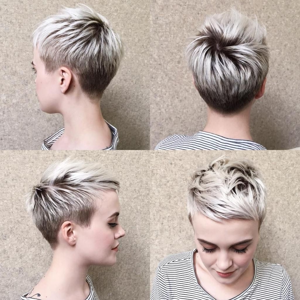 70 Short Shaggy, Spiky, Edgy Pixie Cuts And Hairstyles | Blonde For 2018 Blonde Pixie Haircuts With Short Angled Layers (Gallery 1 of 15)