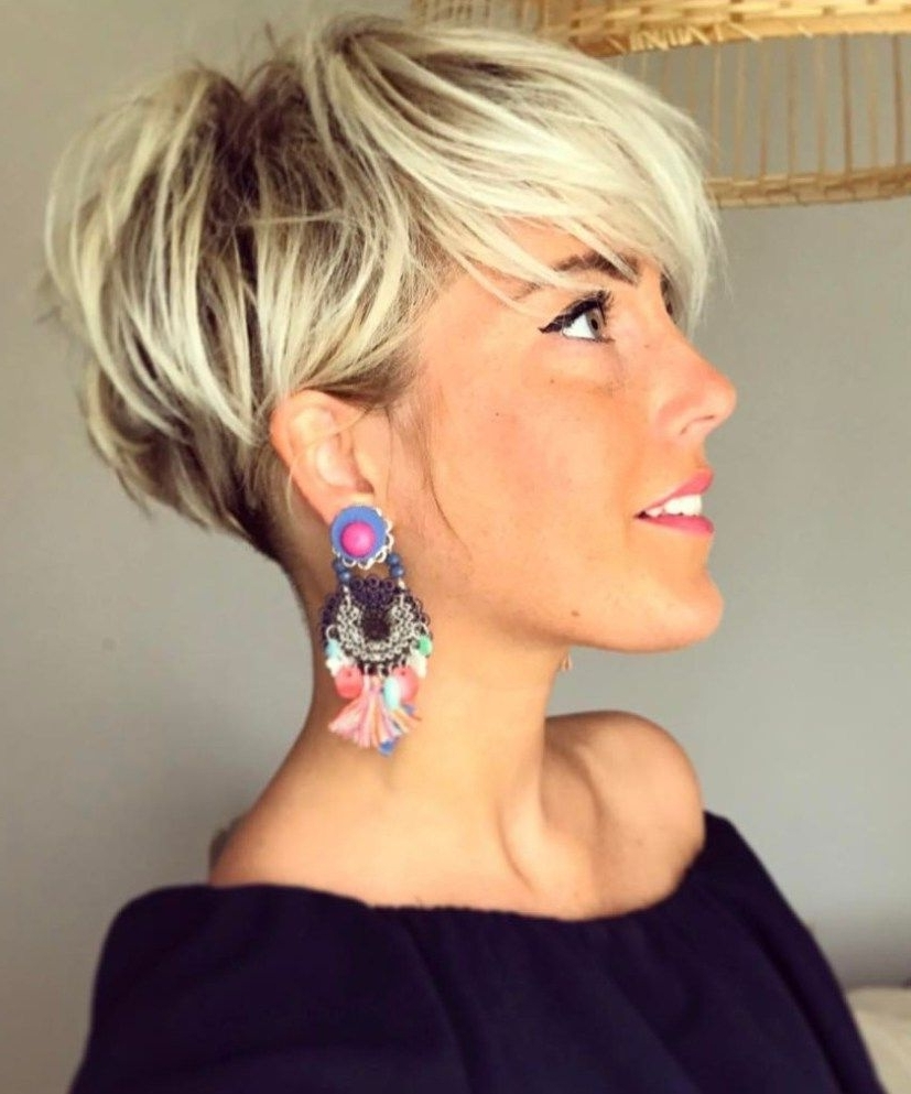 70 Short Shaggy, Spiky, Edgy Pixie Cuts And Hairstyles | Blonde For Most Current Ash Blonde Pixie With Nape Undercut (Gallery 8 of 15)