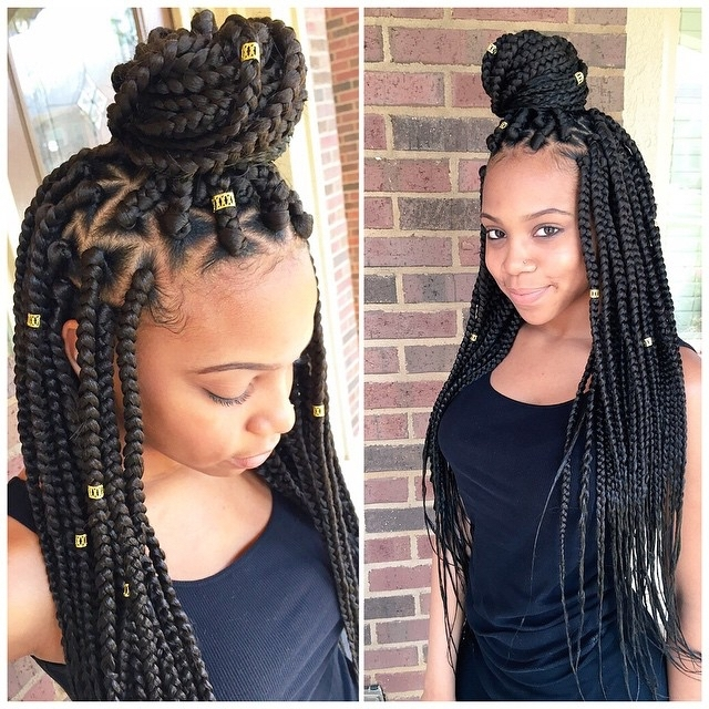 8 Black Hair Braid Styles – Black Coffy Regarding Latest Bold Triangle Parted Box Braids (View 4 of 15)