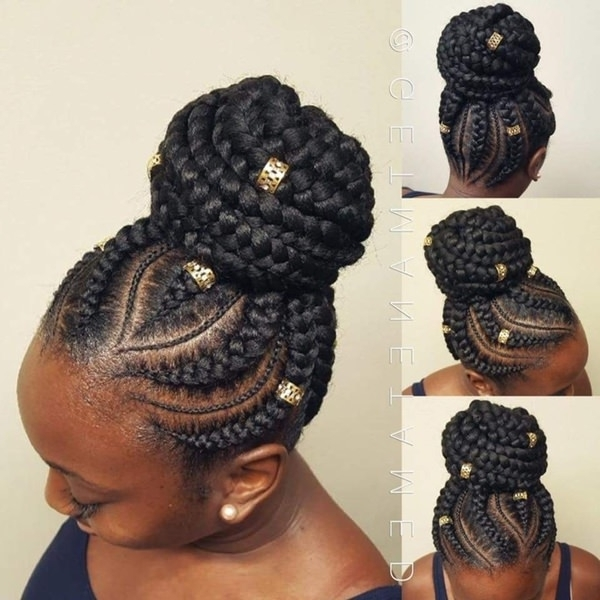 82 Feed In Braids Hairstyle To Rock This Year With Newest Feed In Bun With Ghana Braids (Gallery 5 of 15)