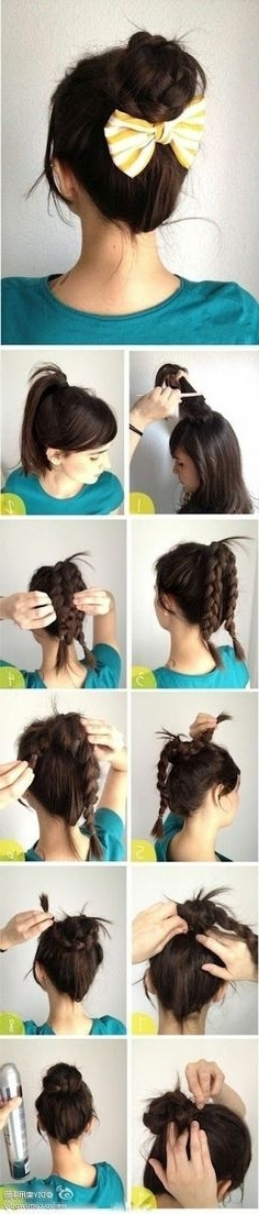 9 Best Hair Images On Pinterest | Make Up Looks, Beauty Tips And Hairdos Throughout Most Up To Date Thin Double Braids With Bold Bow (View 3 of 15)