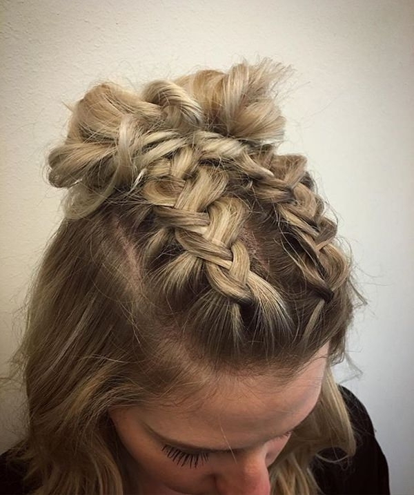 98 Elegant And Beautiful French Braid Ideas In 2018 Two French Braid Hairstyles With A Sock Bun (View 8 of 15)