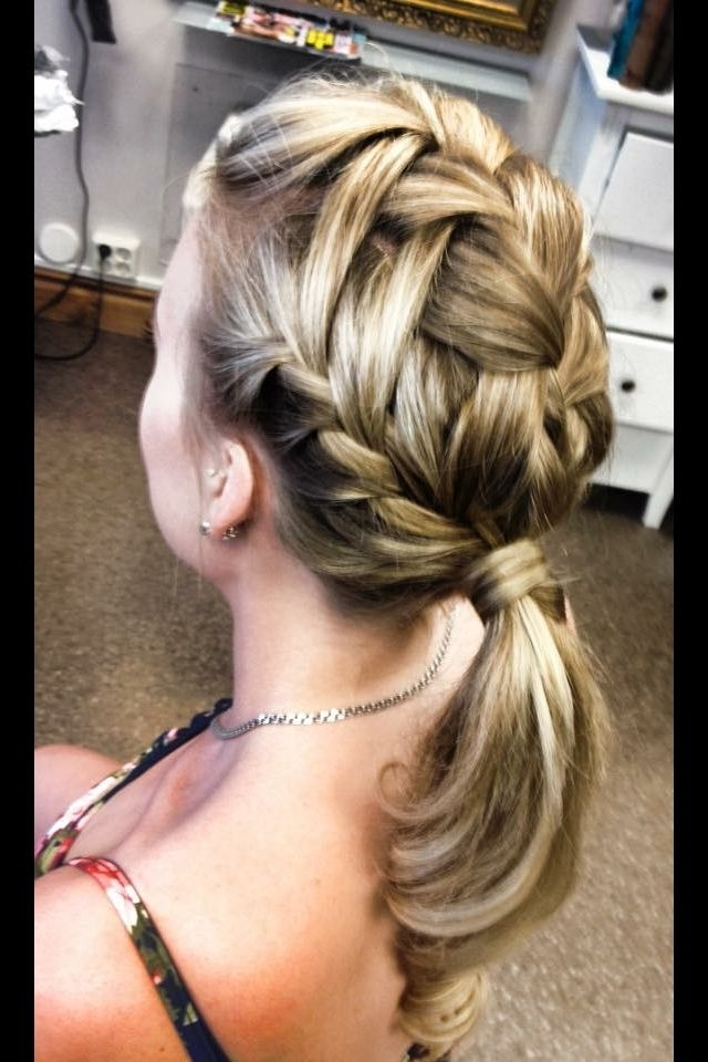 A French Waterfalldraid Into A Ponytail. Instagram: Stylebylizette Inside Most Recent Lattice Weave With High Braided Ponytail (Gallery 3 of 15)