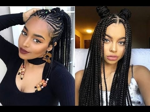 African Braids Hairstyles Ideas For Black Women 2018 – Youtube Throughout Best And Newest Cornrows African American Hairstyles (View 8 of 15)