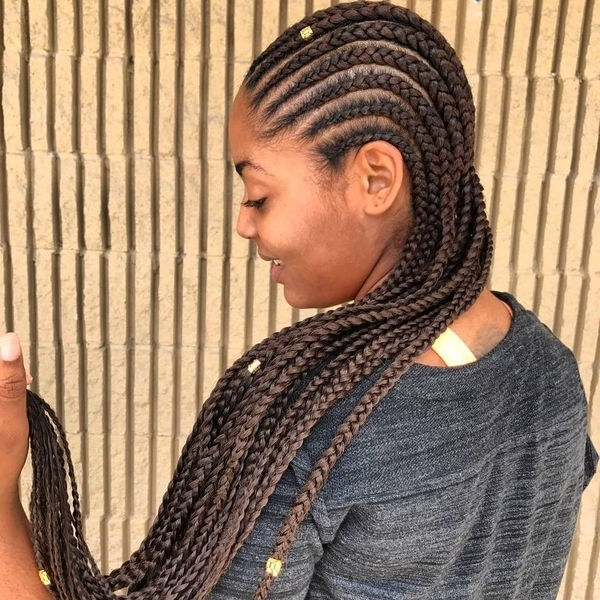 African Braids Hairstyles, Pretty Braid Styles For Black Women With Most Popular Cornrow Hairstyles For Long Hair (Gallery 3 of 15)