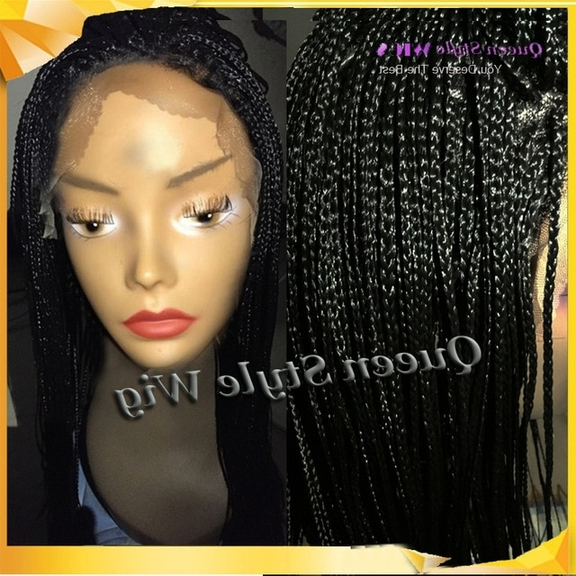 Afro Braid Hairstyle Wig Lace Front Synthetic Black Color Box Braid Intended For Most Recent Wigs Braided Hairstyles (View 8 of 15)