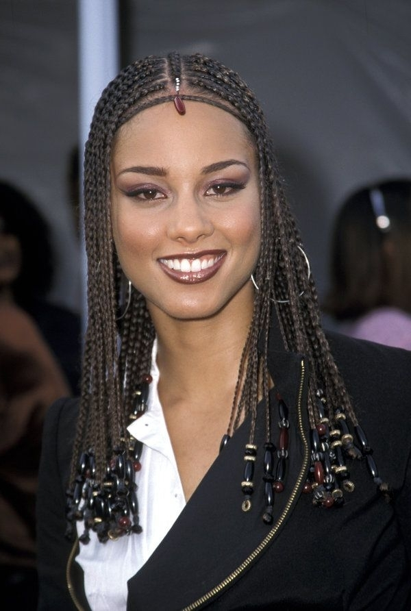 Alicia Keys' Most Head Turning Hairstyles Of All Time | Blues And Regarding Recent Simple Center Part Fulani Braids With A Forehead Bead (View 7 of 15)