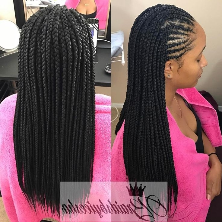 Amazing Hairstyle Update » Box Braids Hairstyles Instagram | Image In Best And Newest Half Cornrows Half Individual Braids (View 11 of 15)