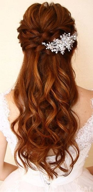 Amazing Half Up Half Down Wedding Hairstyles | Hair And Beauty Inside Most Up To Date Half Updo Braids Hairstyles With Accessory (Gallery 13 of 15)
