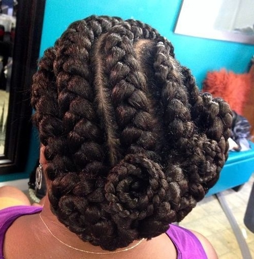Asymmetrical Updo With Goddess Braids   Low Tension Honeymoon Updos With Most Popular Asymmetrical Goddess Braids Hairstyles (View 3 of 15)