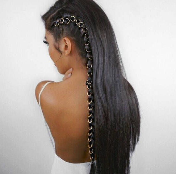 Beaded Hair Rings, Braid Accessories, Hair Hoop, Rings For Hair Pertaining To Newest Super Long Dark Braids With Cuffs (View 11 of 15)