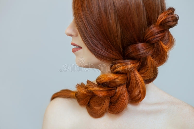 Beautiful Girl With Long Red Hair, Braided With A French Braid, In A In Most Recently Braided Hairstyles For Red Hair (View 12 of 15)