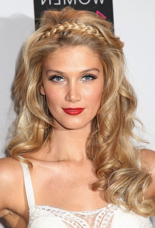Beauty Queen Blonde Loose Spirals & Braided Tiara : Delta Goodrem's For Latest Queen Braided Hairstyles (View 10 of 15)