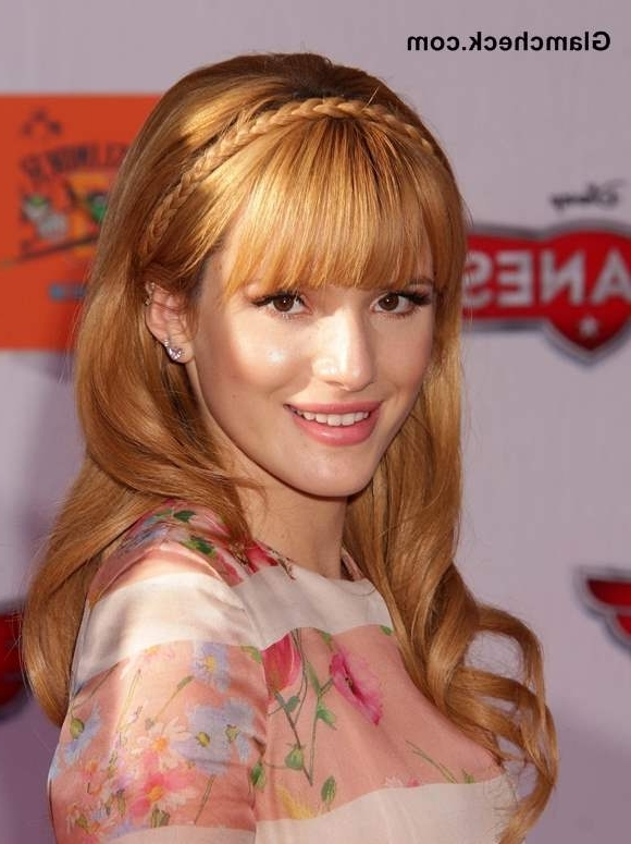 """Bella Thorne Sports Braided Do With Bangs At """"Planes"""" Premiere Pertaining To 2018 Braided Hairstyles With Bangs (View 9 of 15)"""