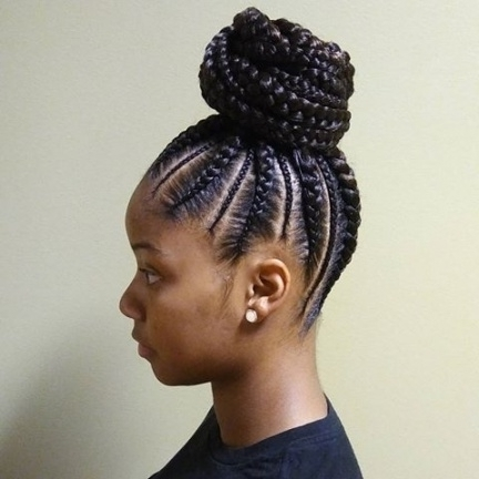 Best 25+ Cornrows Updo Ideas On Pinterest | Cornrow Braid Styles For Most Recent Black Braided Bun Updo (View 7 of 15)