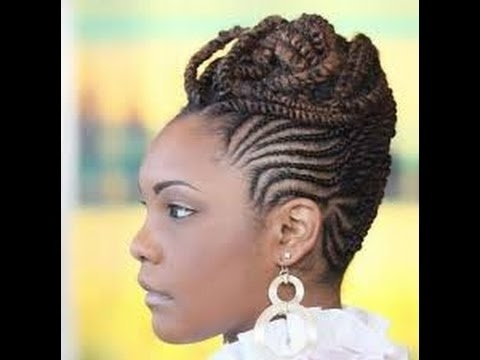 Best Cornrow Updo Hairstyles For Black Women – Youtube With 2018 Cornrow Up Hairstyles (View 2 of 15)