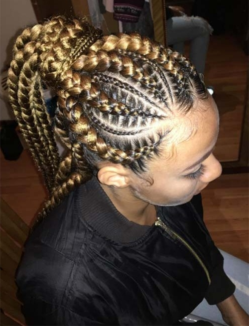 Big Cornrows Hairstyles For Afro American Women   Hairstyles Inside Most Current Cornrows Enclosed By Headband Braid Hairstyles (View 11 of 15)
