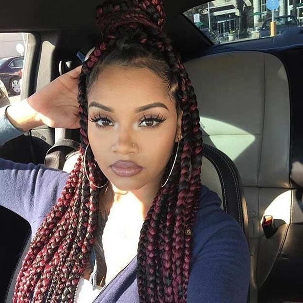 Black And Red Box Braids Half Updo | Box Braids Styles | Pinterest Throughout Most Up To Date Half Updo With Long Freely Hanging Braids (View 13 of 15)