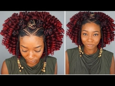 Black Protective Hairstyles | Braided Bantu Knot + Curly Crochet For Throughout Newest Braided Hairstyles For Relaxed Hair (View 8 of 15)