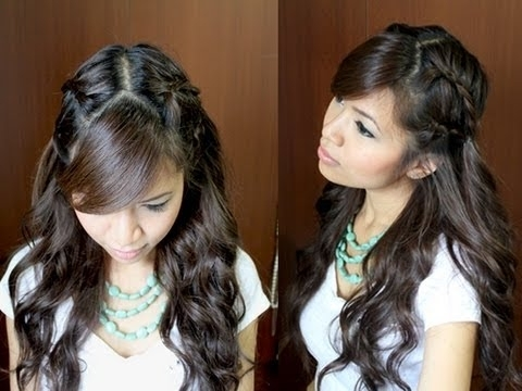 Bohemian Lace Braid Hairstyle Curly Hair Tutorial – Youtube Pertaining To Current Braided Hairstyles On Curly Hair (View 5 of 15)