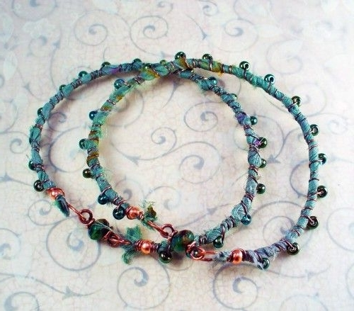 Boho Jade Green Sari Ribbon Copper Wire Wrapped Bangles W Pony Beads For 2018 Ponytail Wrapped In Copper Wire And Beads (View 6 of 15)