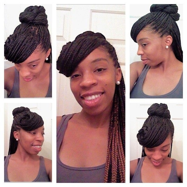 Box Braid Style: Half Up Half Down Pinned Up Swoop With A Twisted Regarding Most Popular Pinned Up Braided Hairstyles (View 13 of 15)