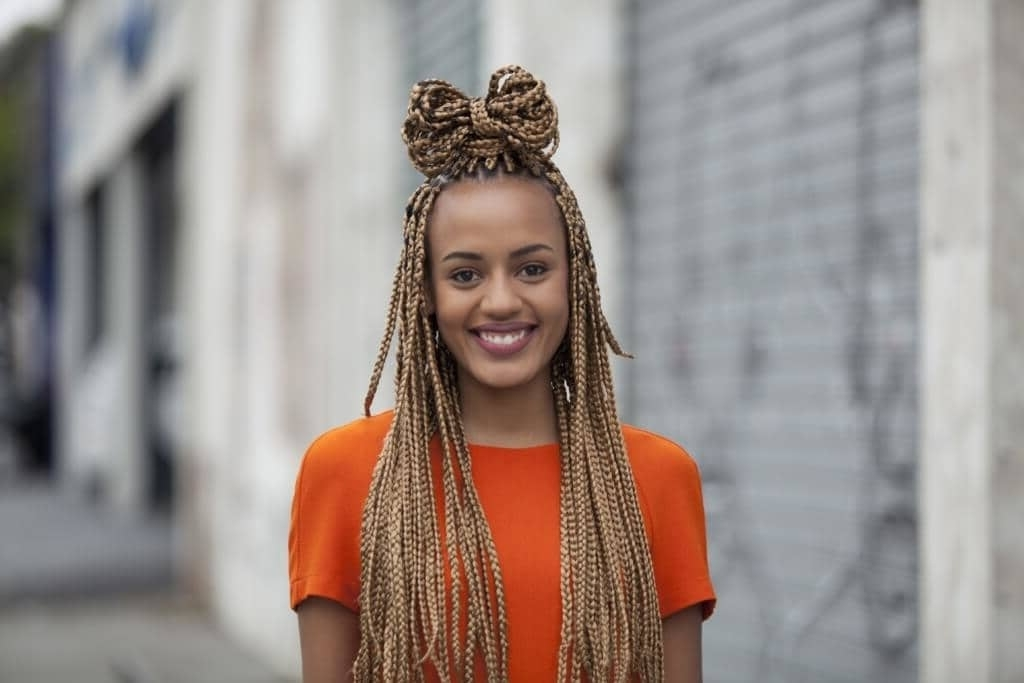 Box Braids: 13 Pretty Hairstyles To Inspire Your Next Look Within 2018 Thin Double Braids With Bold Bow (View 10 of 15)