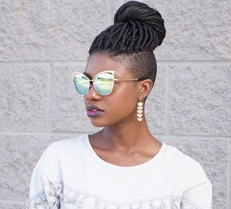 Box Braids With Shaved Sides: 6 Stylish Ways To Rock The Look With Regard To 2018 One Side Shaved Braided Hairstyles (View 7 of 15)