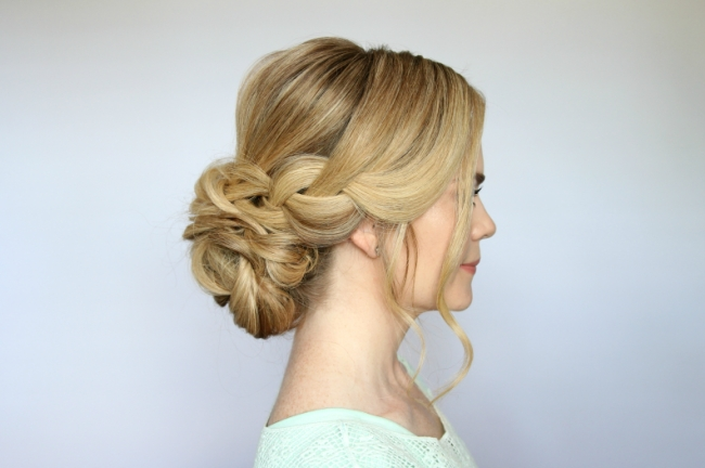 Braid And Low Bun Updo | Missy Sue Within Latest Updo With Forward Braided Bun (View 14 of 15)
