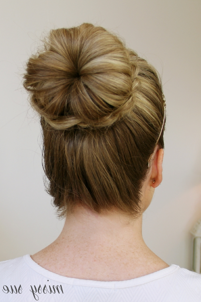 Braid Wrapped High Bun For 2018 Donut Bun Hairstyles With Braid Around (View 3 of 15)