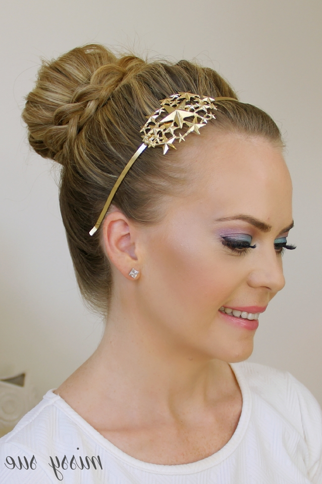 Braid Wrapped High Bun Pertaining To Most Popular Large High Bun With A Headband (View 10 of 15)