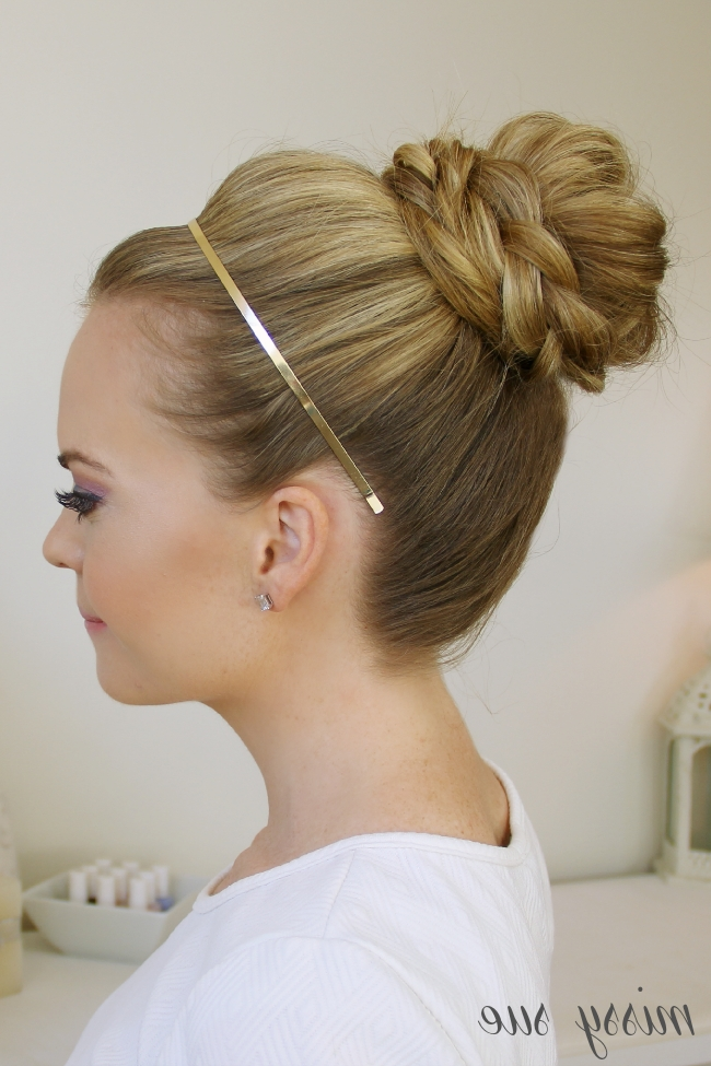 Braid Wrapped High Bun Pertaining To Newest Large High Bun With A Headband (View 4 of 15)
