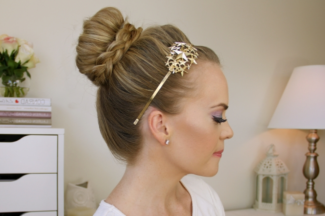Braid Wrapped High Bun Regarding Most Current Large High Bun With A Headband (View 8 of 15)