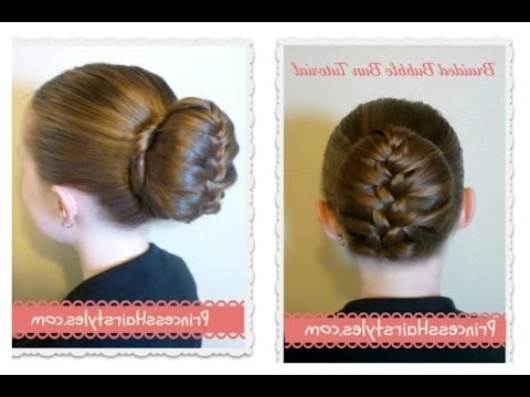 Braided Bubble Bun Tutorial, Dance Hairstyles – Youtube Regarding 2018 French Braid Hairstyles With Bubbles (View 6 of 15)