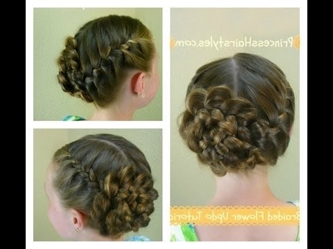 Braided Flower Updo, Easter & Prom Hairstyles – Youtube With Regard To 2018 Easter Braid Hairstyles (View 6 of 15)