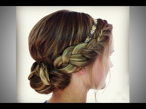 Braided Headband Updo – Youtube For Most Recently French Braid Crown And Bun Updo (View 9 of 15)